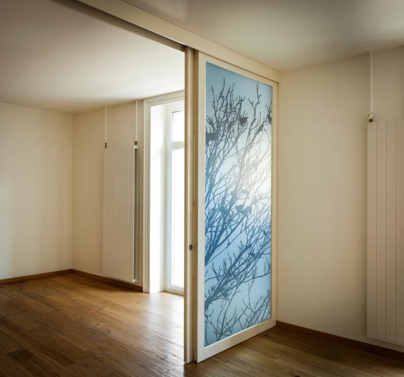 Vetrate decorate vetreria ippolito - Porta scorrevole con vetro ...